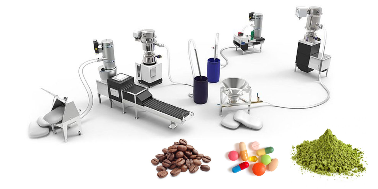 Vakuumtransport piller, pulver og tabletter